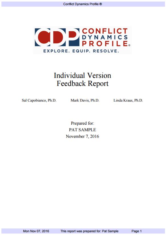CDP-I Feedback Report
