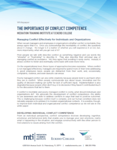 Conflict Competence White Paper