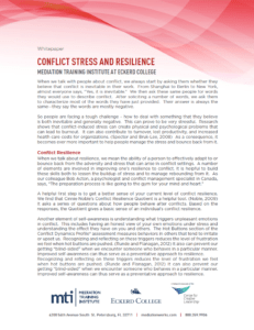 Conflict Stress and Resilience White Paper