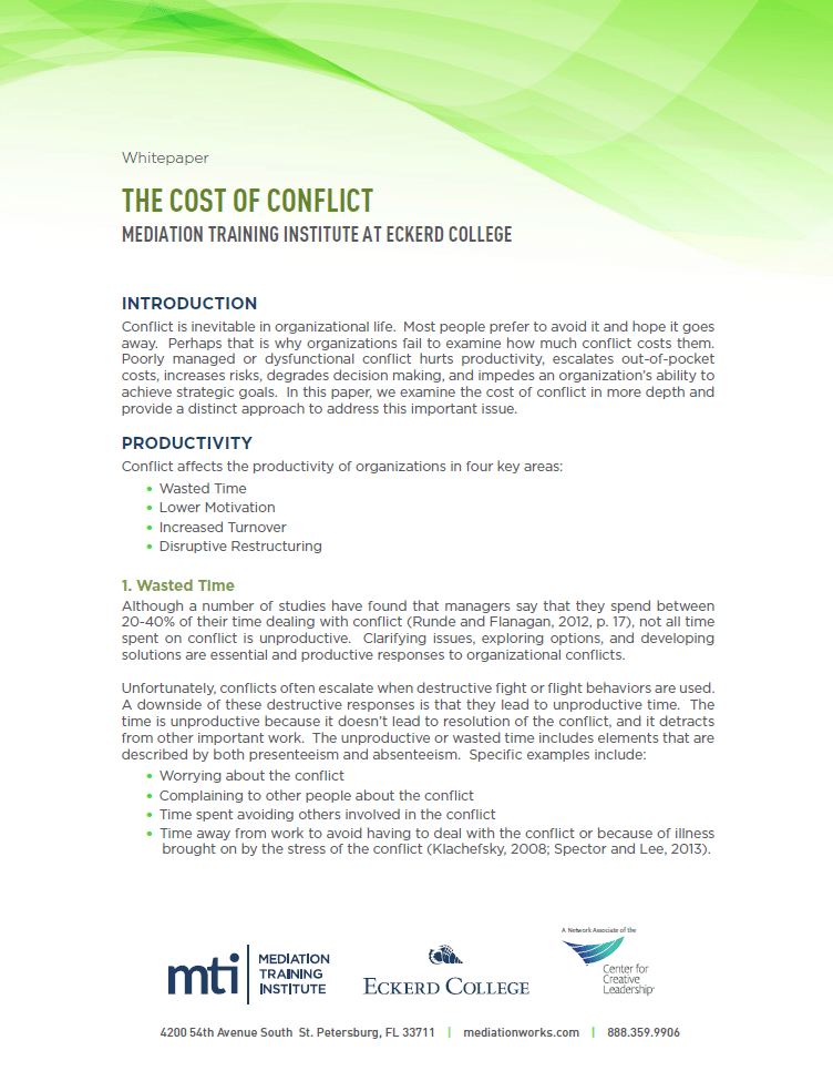 Cost of Conflict White Paper