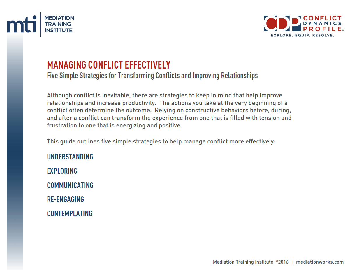 Managing Conflict Effectively Guide